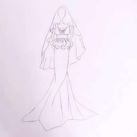 设计分享 婚纱设计笔素描图 > 婚纱设计手稿模板下载  婚纱设计手稿
