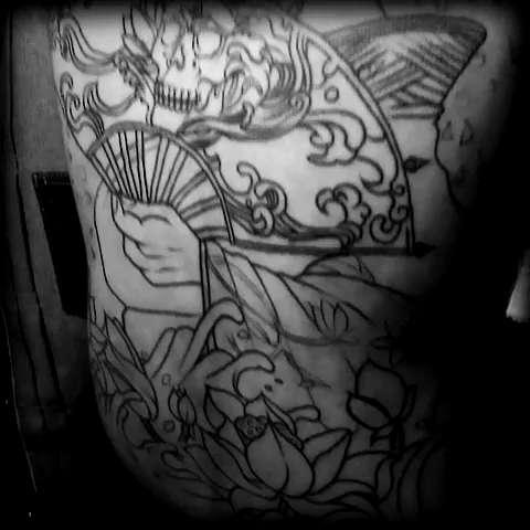 北京纹身#本店作品,满背割线