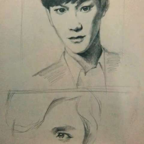 人物素描##exo##霸气吴世勋耶嘿#美术老师的作品!