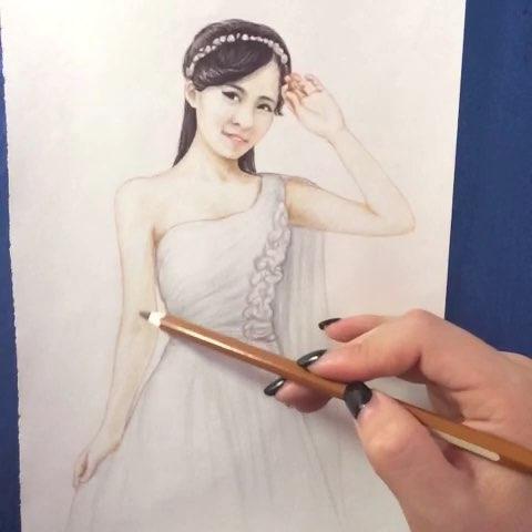 求关注##手绘彩铅画#美丽新娘