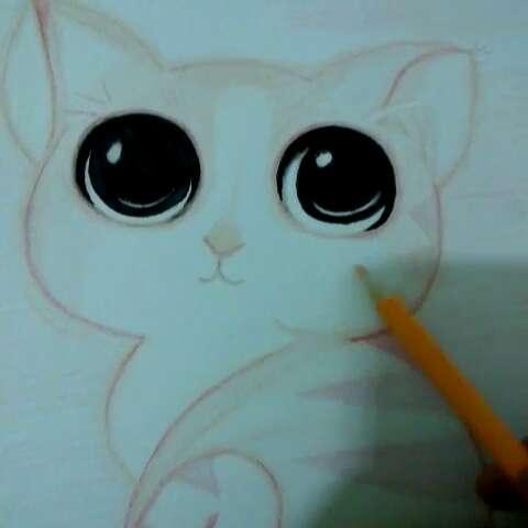 手绘彩铅画##猫咪