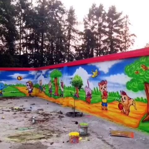 幼儿园抽象画墙绘