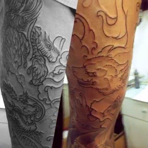 北京纹身#千贺宗刺青 任亮.五年前的小腿衔接整腿