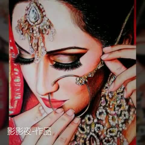 手绘##手绘彩铅画##我爱画画##印度新娘#背景音乐