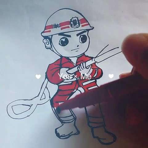 简笔画~可爱消防员