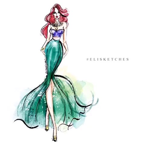 迪士尼公主们的礼服手绘插画|来自画家eli san juan
