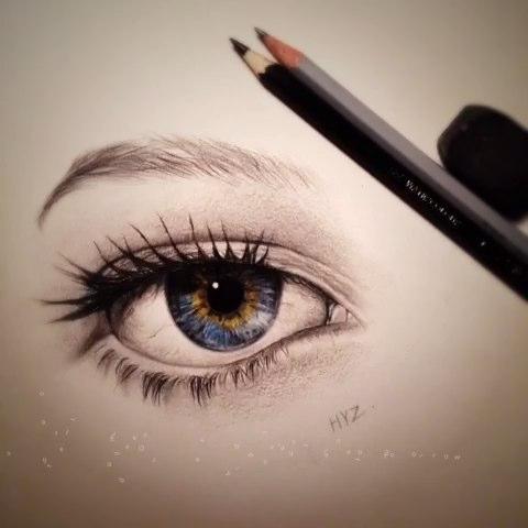【蓝】眼睛彩铅画#手绘彩铅画##眼睛