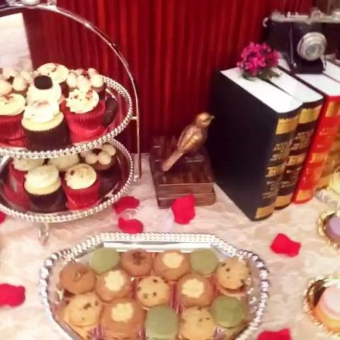 欧式红色风格甜品台布置