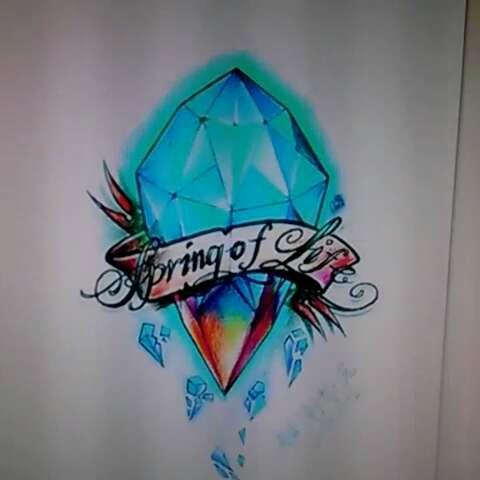 今天手画完成,能量晶石!#纹身店##广州纹身