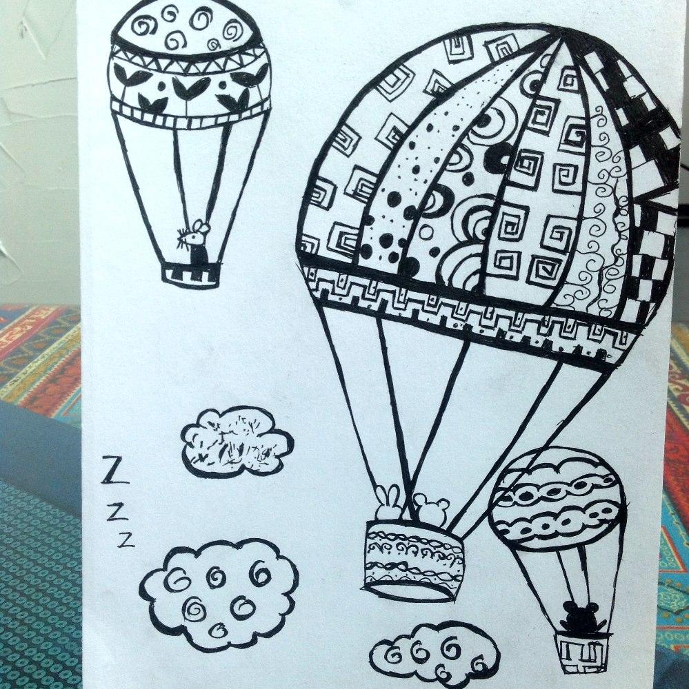 画了一个#线描##热气球#,好看不?视频一会儿发图片