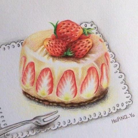 周一##手绘彩铅#草莓