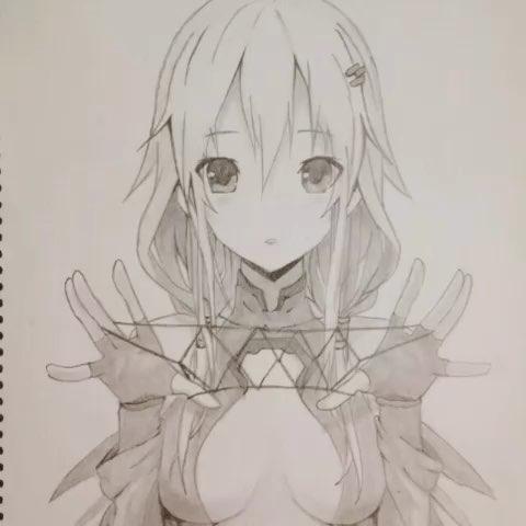 二次元女生手绘铅笔画 全身展示