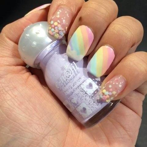 《齐齐画 夏日彩虹》 画甲用 e-nail 水性指甲油 点珠笔,效果比普通甲图片