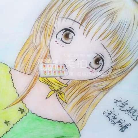 手绘彩铅画##卡通#最近暑假时间一直都在给孩子们教绘画,没有时间