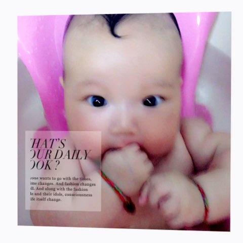 宝宝成长记#宝贝三个月.发型很酷图片