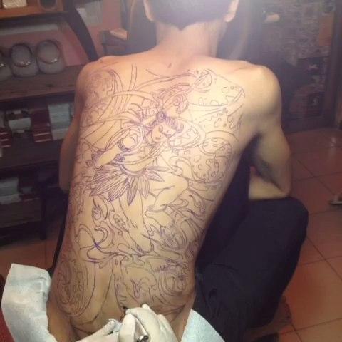 线条感的般若纹身手稿第3页图片