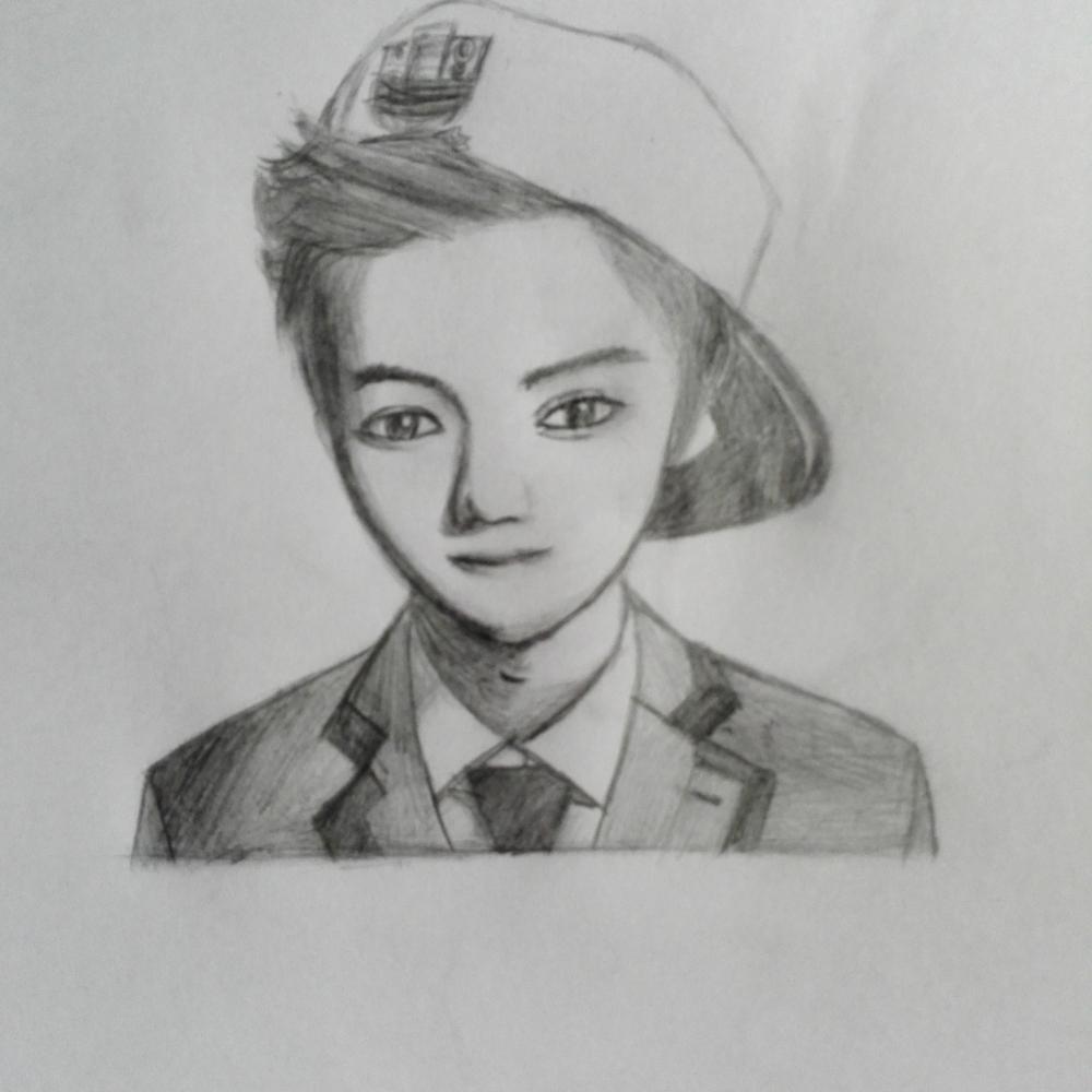 鹿晗真人手绘素描