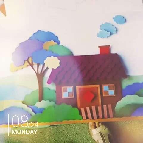 卡纸拼贴画,美丽的家园