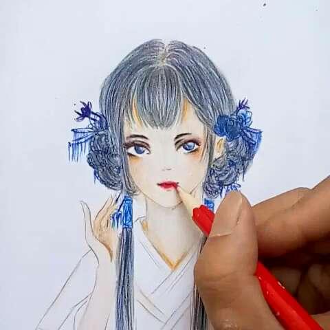 女##画画##彩铅手绘##动漫人物##我要上热门##无师自通的画画##画画教