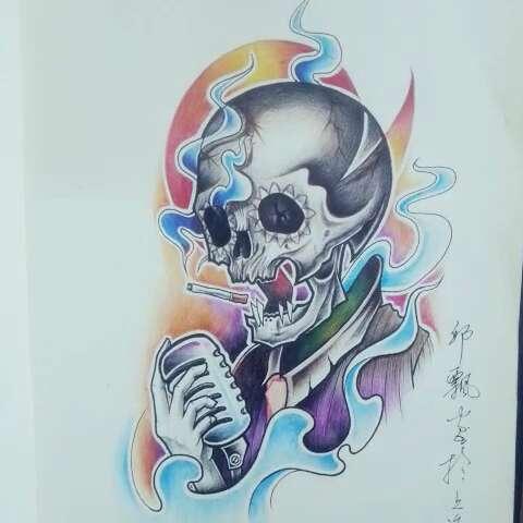 上海青白纹身##美女设计手稿