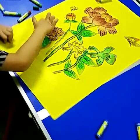 创意手工绘画课程.今日下午儿童组创意绘画林芯同学作品《牡丹花》.