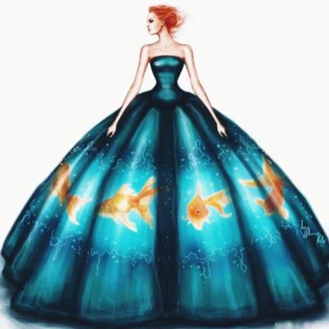 3d礼服 #时尚##服装搭配##彩铅手绘##服装设计手绘