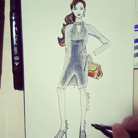 一分钟手绘大赛#我爱服装设计,我爱美衣,我爱手绘,性感职业装美眉