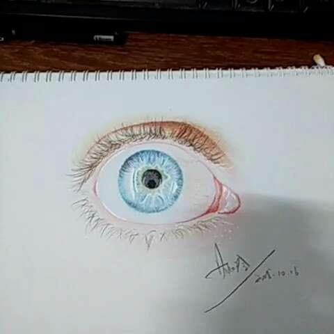 彩铅手绘##蓝眼睛