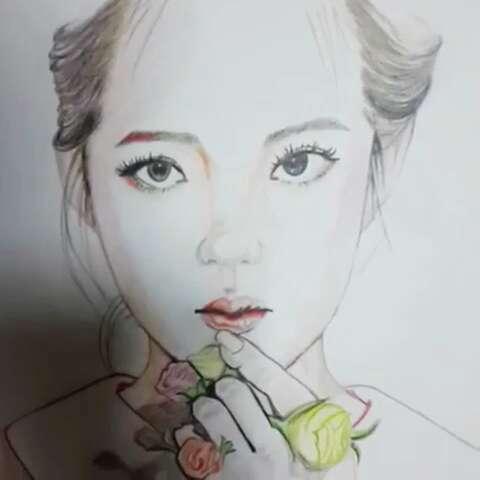 彩铅手绘气质美女