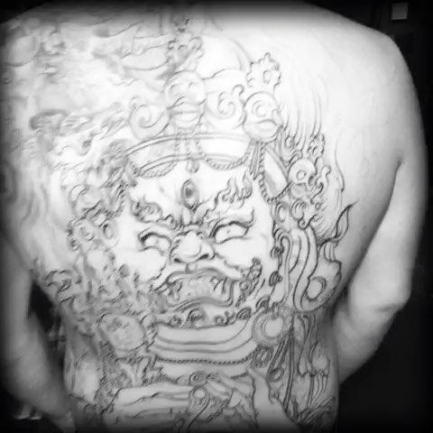 不动明王,割线部分完成,期待下次完成效果#大庆纹身##龙纹刻战刺青
