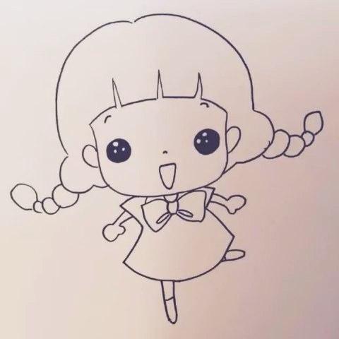 女孩简笔画_穿裙子的女孩简笔画_漂亮长发女孩简笔画