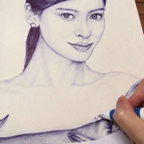 杨颖手绘图片唯美