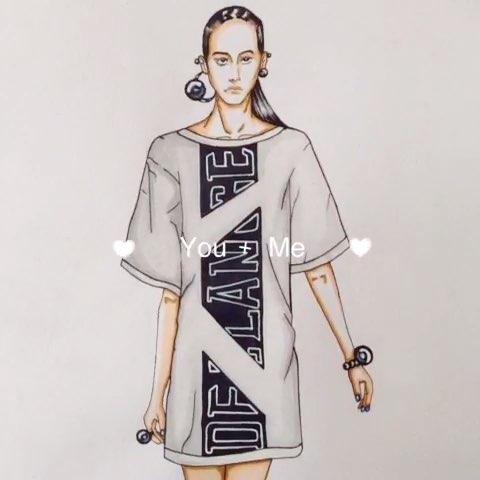手绘时装画##手绘彩铅画##手绘作品##服装设计手绘##手绘##美拍时装