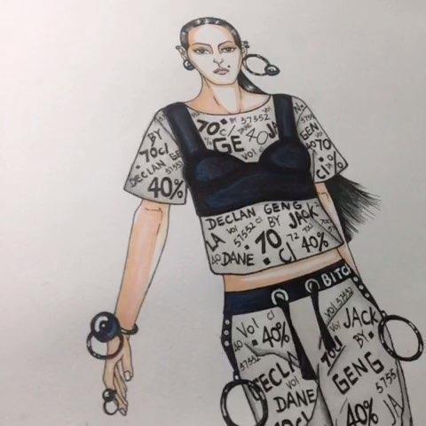手绘时装画##手绘彩铅画##手绘作品##服装设计手绘