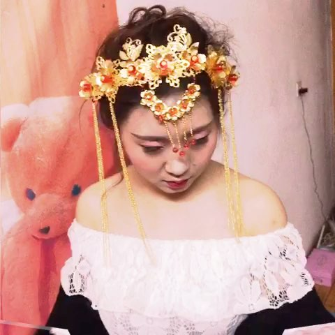 新娘妆#中式发型图片