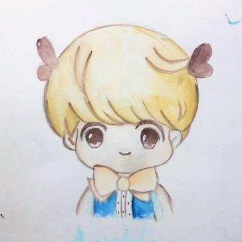 鹿晗##手绘漫画##手绘水彩画#鹿晗啦啦啦临摹作品 男神