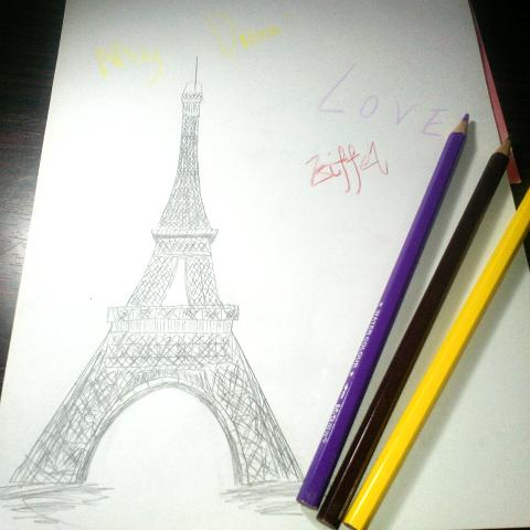 这个#图片#是me#绘画#的#巴黎埃菲尔铁塔#
