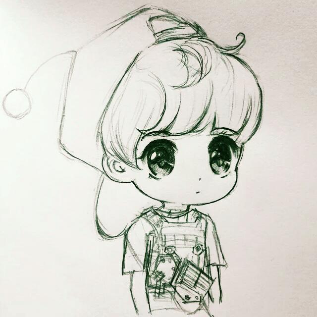 鹿晗卡通手绘稿