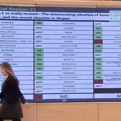 人权理事会通过决议,决定成立叙利亚阿勒颇人权问题独立调查委员会
