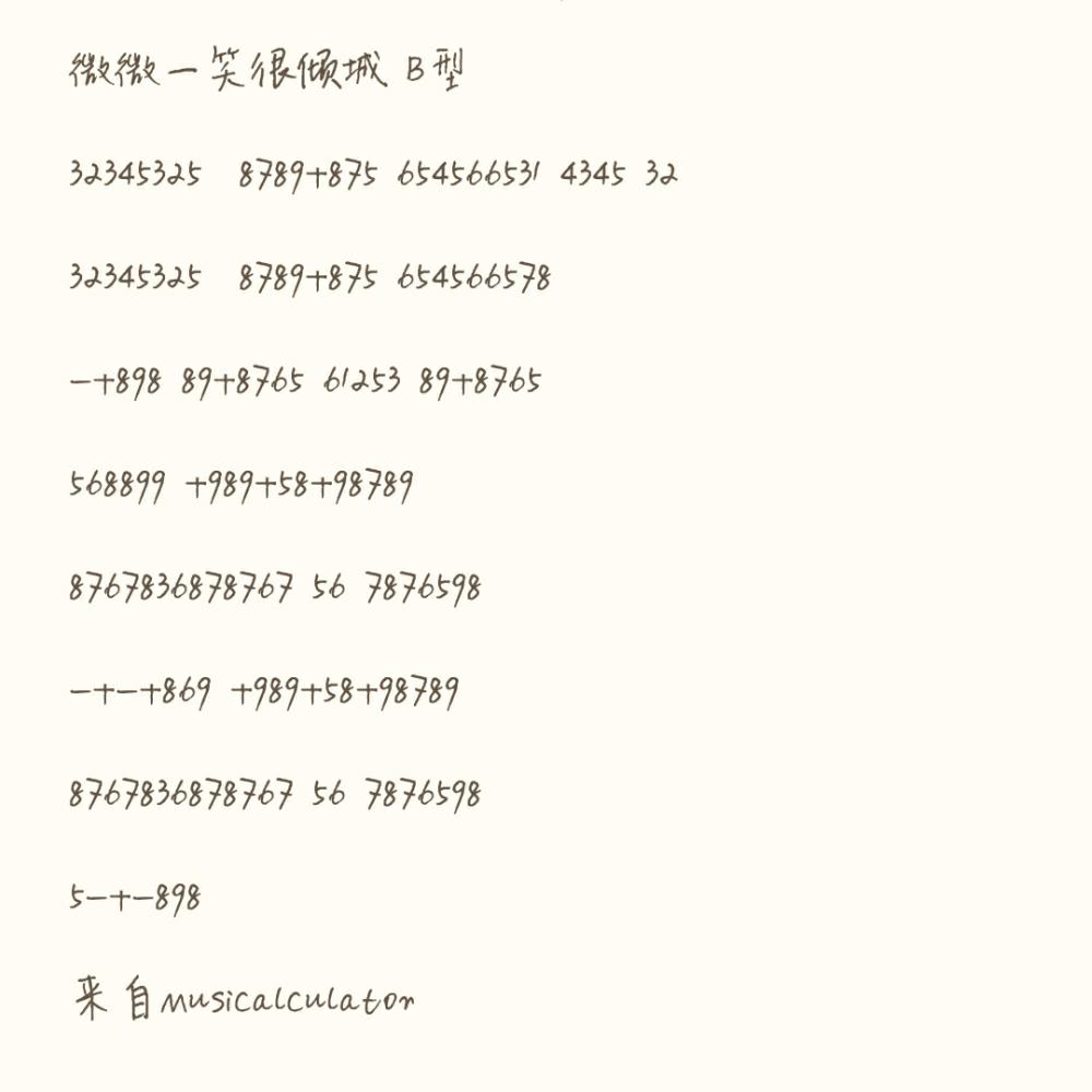 计算器音乐乐谱