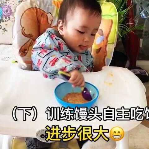 (下)第一次训练馒头自主拿勺吃饭!馒头的进步很